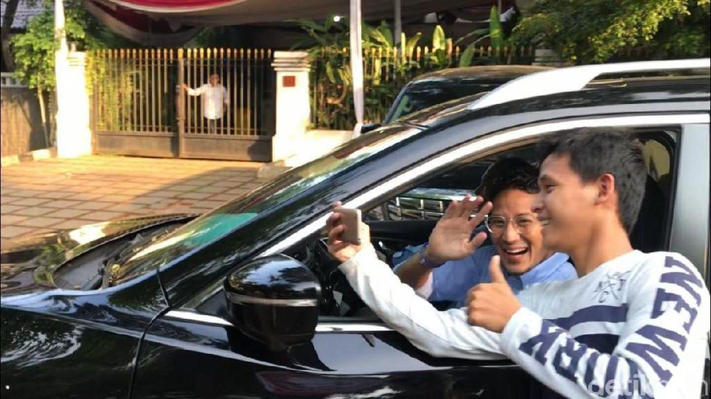 Sandiaga Tinggalkan Kediaman Prabowo di Kertanegara