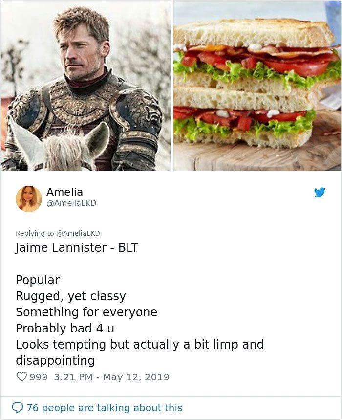 Thread buatan Amelia jadi viral lantaran sudah mendapat likes dan di-retweet hingga ribuan kali. Soal Jaime Lannister ia mengatakan sosoknya menggoda, namun sebenarnya sedikit mengecewakan sehingga mirip sandwich BLT yang terdiri dari bacon, lettuce, dan tomato (BLT). Foto: Twitter AmeliaLKD
