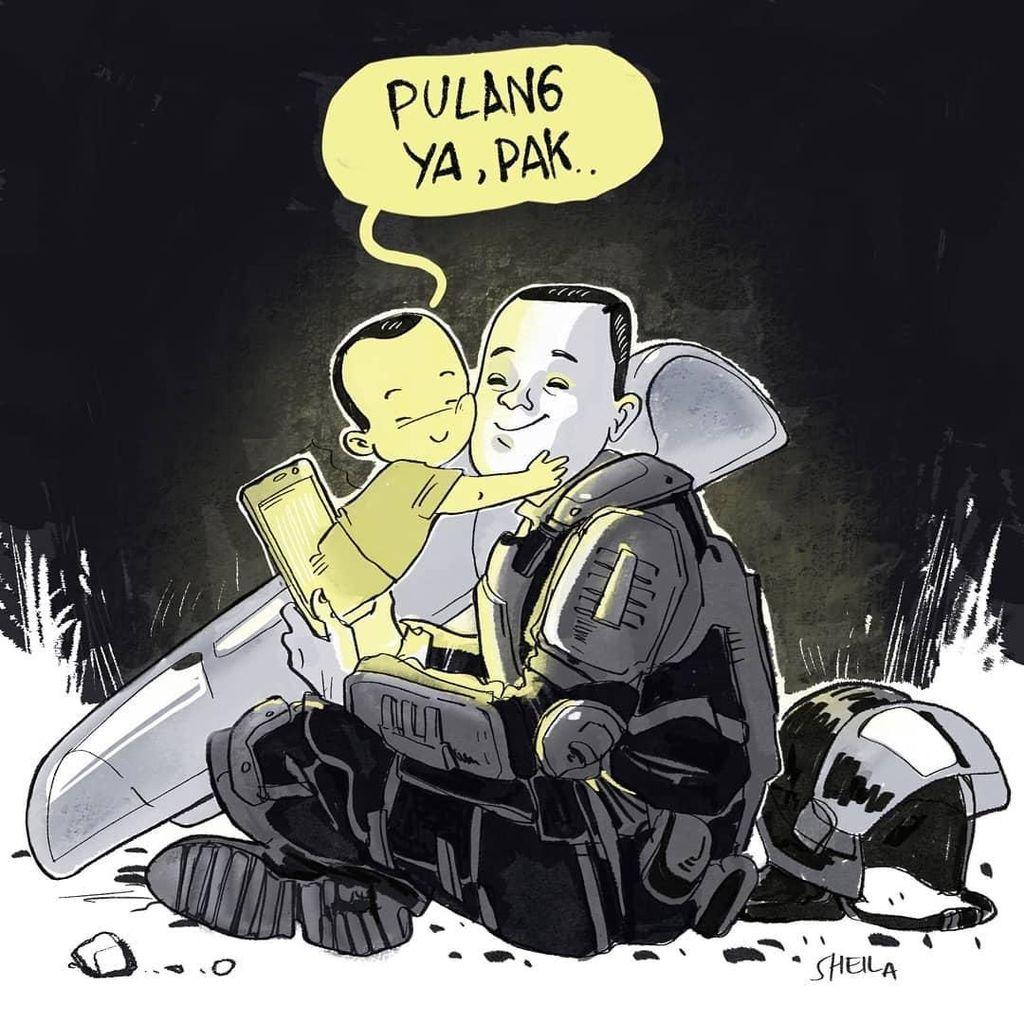 Haru! Ilustrasi Petugas Polri Video Call Anak di Aksi 22 Mei