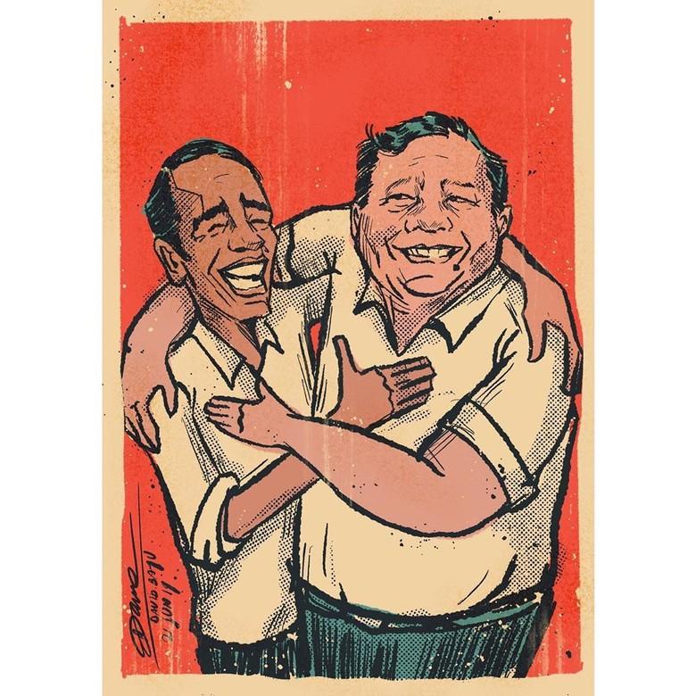 Posting Ilustrasi Jokowi-Prabowo Pelukan, David Naif Ajak Kembali Rukun
