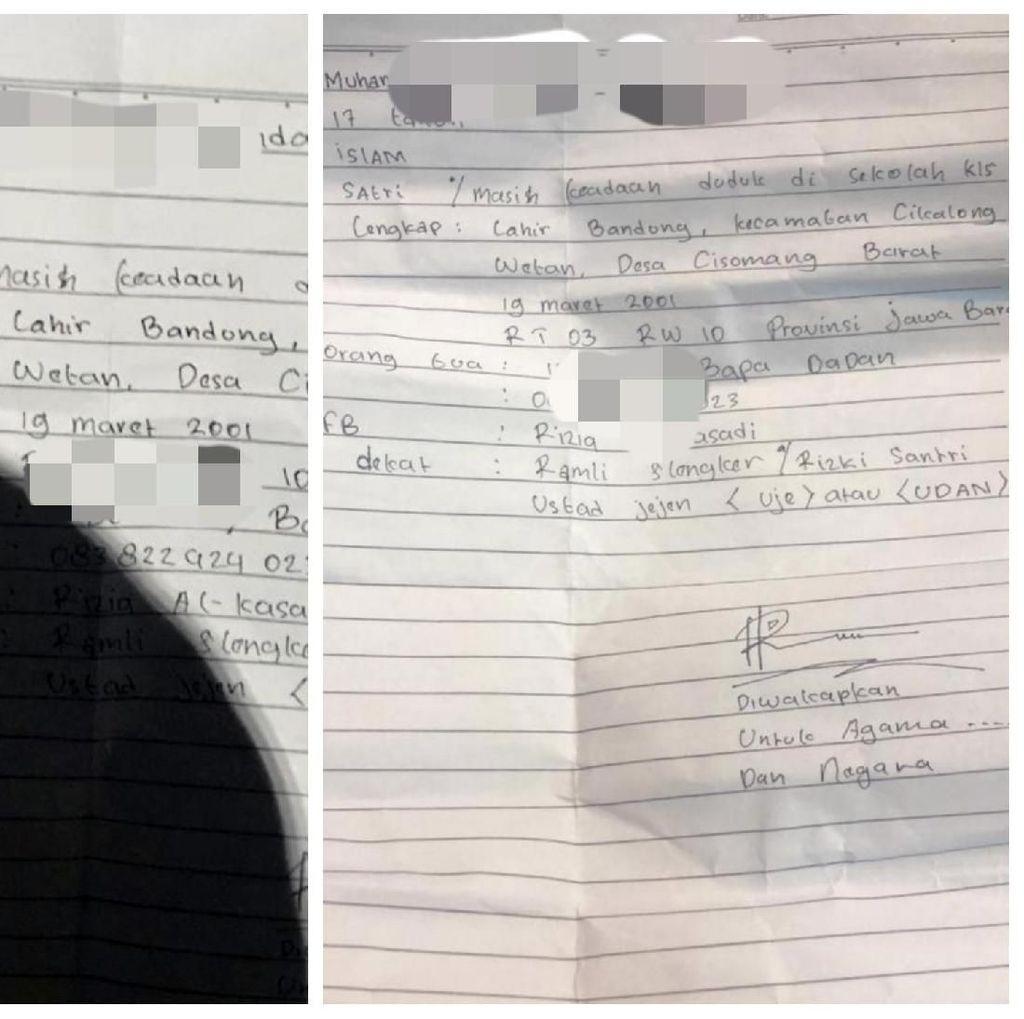 Polisi Lepas Remaja Pembawa Surat Diwakafkan untuk Agama-Negara