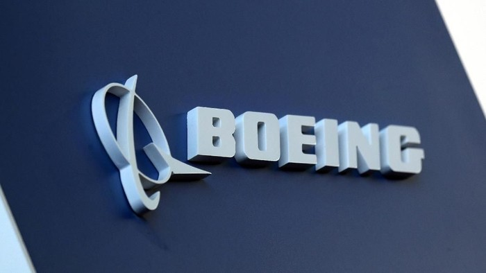 FILE PHOTO: The Boeing logo is pictured at the Latin American Business Aviation Conference & Exhibition fair (LABACE) at Congonhas Airport in Sao Paulo, Brazil, Aug. 14, 2018. REUTERS/Paulo Whitaker/File Photo