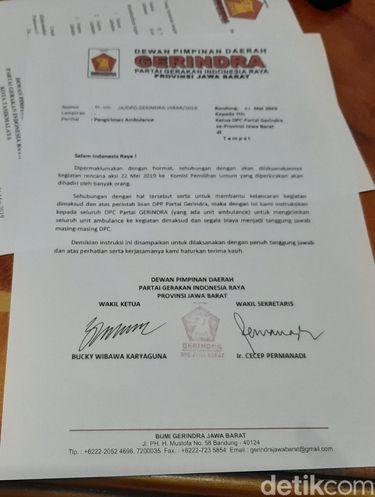 Ini Surat Instruksi Gerindra Jabar Kirim Ambulans untuk Aksi 22 Mei