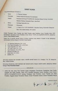 Surat kuasa tim hukum Prabowo-Sandiaga