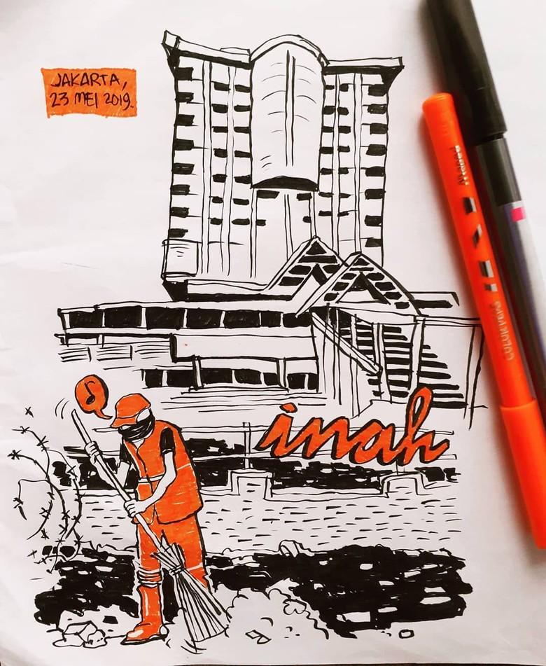 Ilustrasi Pasukan Oranye Menyapu di Sarinah yang Kini Berlogo Inah Foto: sheilasplayground/ Istimewa