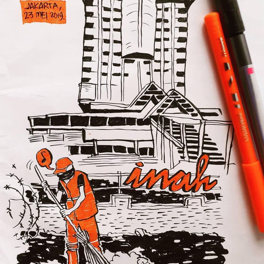 Ilustrasi Pasukan Oranye Menyapu di Sarinah yang Kini Berlogo Inah