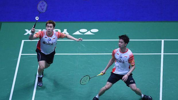 Kevin Sanjaya/Marcus Fernaldi menyumbang poin untuk tim Indonesia lawan Jepang. (