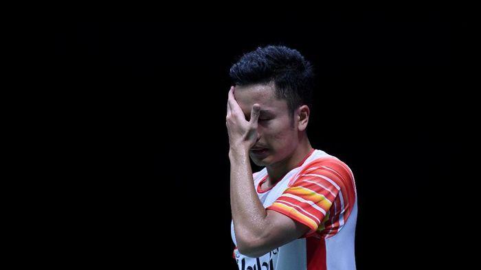 Anthony Sinisuka Ginting kecewa dengan penampilannya di Piala Sudirman 2019. (Wahyu Putro A / Antara)