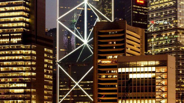 Gedung Bank of China Hongkong, memiliki desain yang terinspirasi dari bentuk tangkai bambu. Istimewa/Johannes Kaira/CNN.