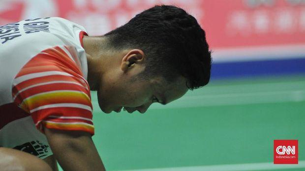 Anthony Ginting harus berjuang keras mengalahkan Lu Guangzu.