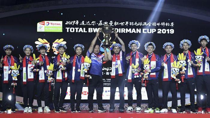 China juara Piala Sudirman 2019 usai mengalahkan Jepang 3-0. (Wang Zhao/AFP)