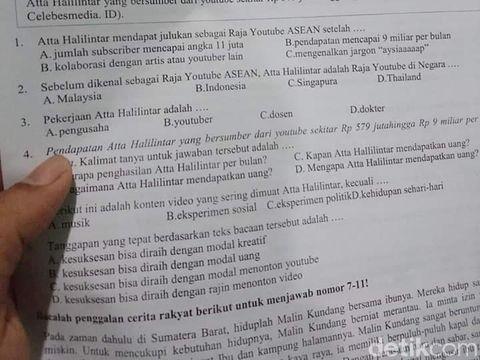 Konten Atta Halilintar Dinilai Tak Layak Masuk Soal Ujian SD di Serang