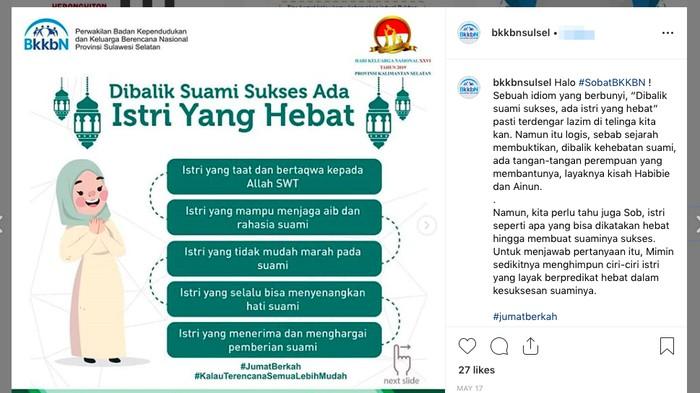 Beberapa netizen menganggap unggahan BKKBN ini cenderung patriarki. (Foto tangkapan layar: Instagram)