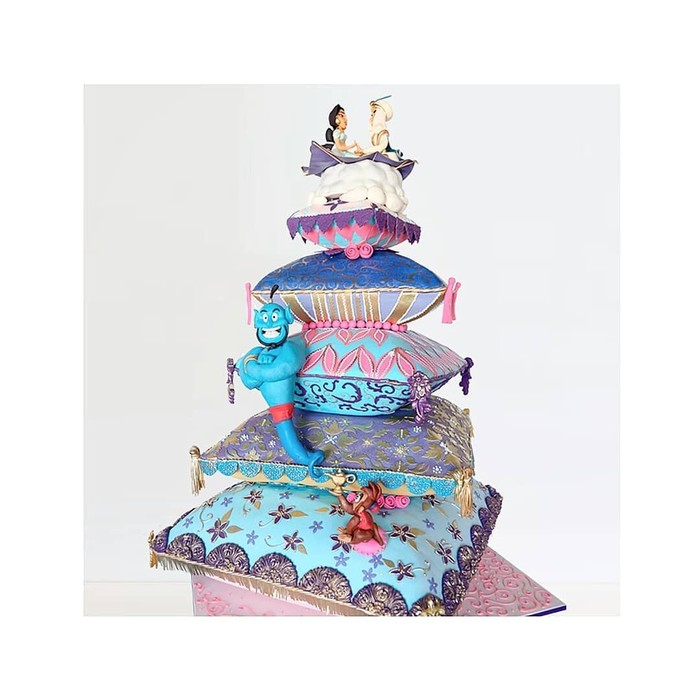 Di Instagram ada ribuan foto cake bertema Aladdin. Cake ini menghadirkan berbagai tokoh dan ikon yang identik dengan Aladdin. Foto: instagram
