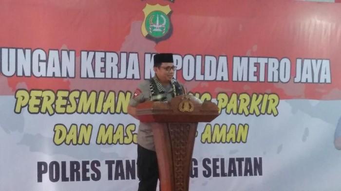 Kapolda Metro Jaya, Irjen Gatot Eddy Pramono memberikan sambutan. (Adhi Indra/detikcom)