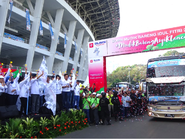 Pelepasan pemudik di Gelora Bung Karno (Foto: Tia Reisha/detikcom)