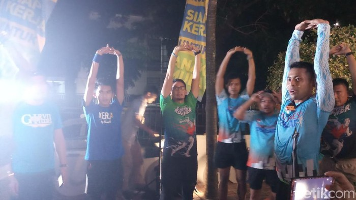 Cawapres Sandiaga Uno melakukan Iktikaf Run dari Rumah Siap Kerja. (Farih Maulana Sidik/detikcom)