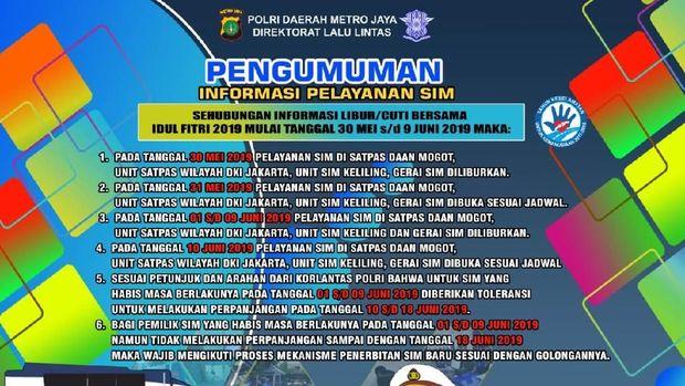 Pelayanan SIM di DKI Jakarta Libur Selama Lebaran, Ini Jadwalnya