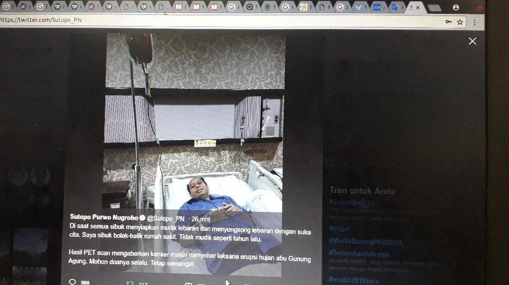 Kanker Parunya Menyebar, Sutopo BNPB Ibaratkan Seperti Erupsi Gunung Agung