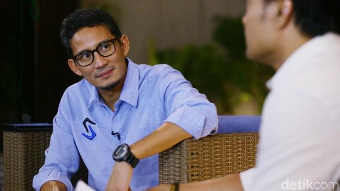Tim blak-blakan detikcom berkesempatan melakukan wawancara dengan Cawapres nomor urut 2 Sandiaga Salahudin Uno, Jakarta, Kamis (30/5/2019). Grandyos Zafna/detikcom