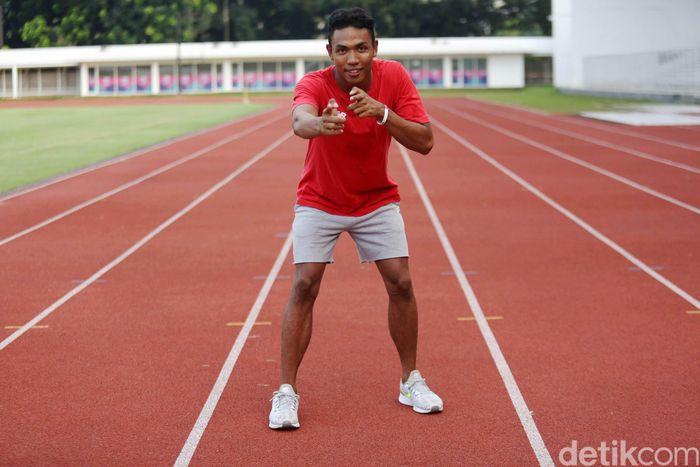 Lalu Muhammad Zohri sedang menjalani latihan di Jakarta beberapa waktu lalu.