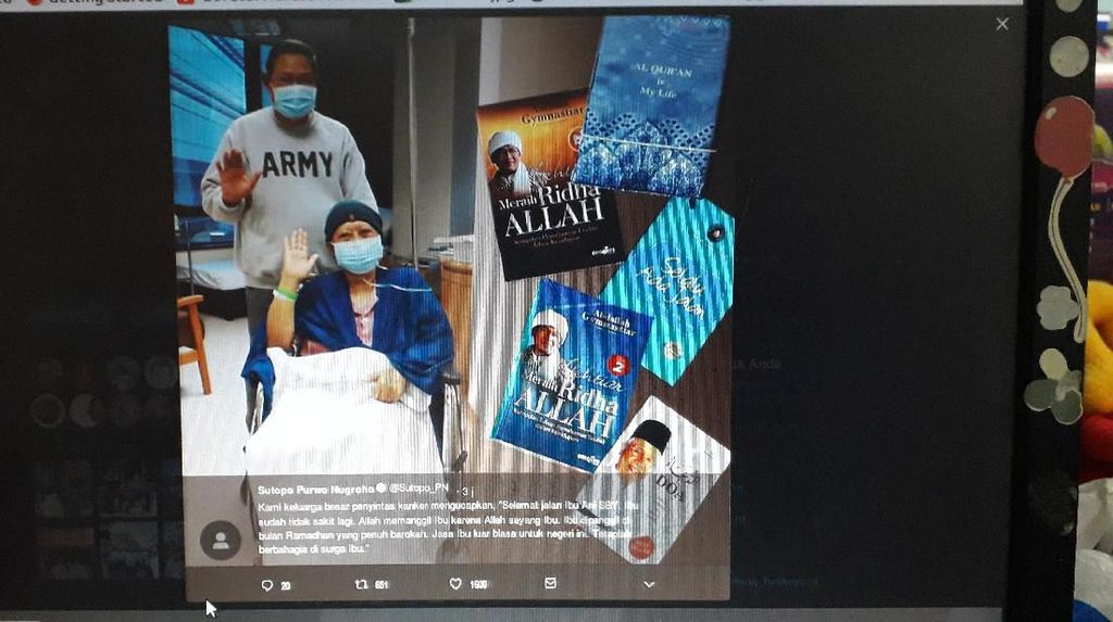 Bu Ani SBY Wafat, Sesama Pejuang Kanker Sutopo BNPB Sampaikan Duka Cita