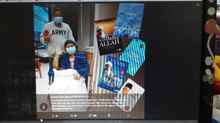 Ungkapan duka cita atas meninggalnya Ani Yudhoyono disampaikan sesama pejuang kanker, Sutopo BNPB (Foto: tangkapan layar)