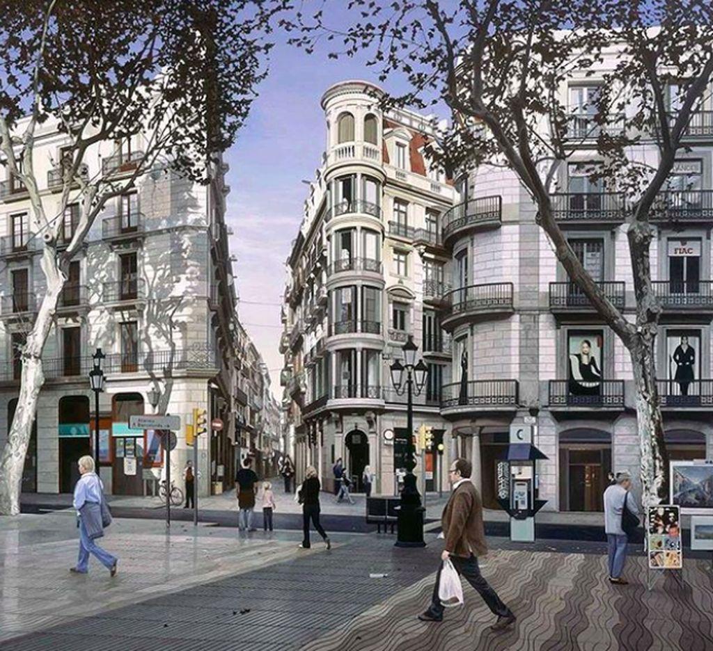 Mirip dengan jepretan kamera bukan? Padahal inimerupakan lukisan salah satu sudut kota di Eropa.(Foto: Instagram/nathan_walsh_artist)