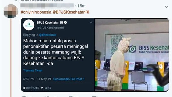 Typo dari akun resmi BPJS Kesehatan memicu meme yang viral di media sosial. (Foto: Tangkapan layar Twitter