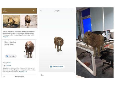 Singa Hasil Pencarian Google Kini Bisa Gerak dan Mengaum