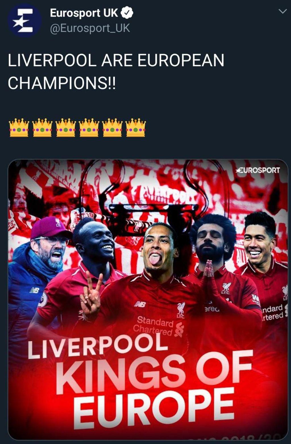 Liverpool jadi raja Eropa usai menang 2-0 atas Spurs. (Foto: Internet/Twitter)