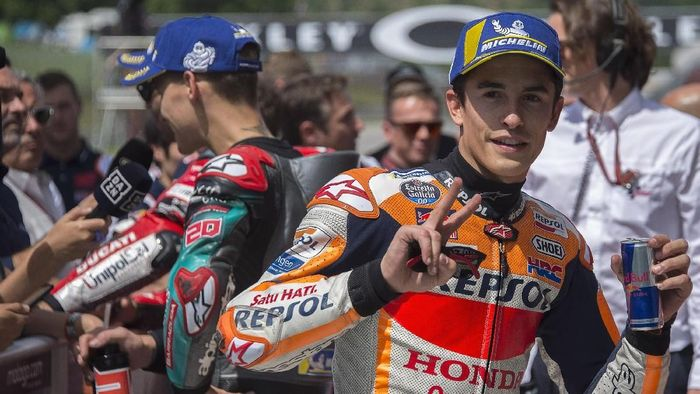 Pebalap Repsol Honda, Marc Marquez, start kedua di MotoGP Catalunya. (Foto: Mirco Lazzari gp / Getty Images)