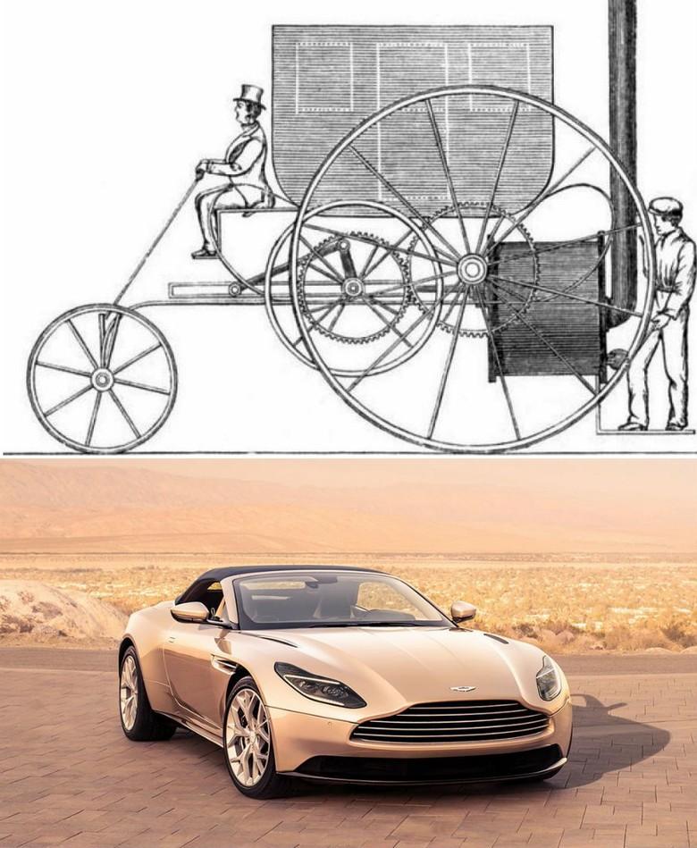 Ini adalah wujud mobil pertama. Tampilannya seperti gerobak yang menggunakan mesin uap built-in. Jika dibandingkan dengan mobil zaman sekarang tentu saja mobil ini tidak praktis dan melelahkan karena harus secara berkala melemparkan kayu bakar ke tempat pembakaran sebagai bensin.Foto: via Brainberries
