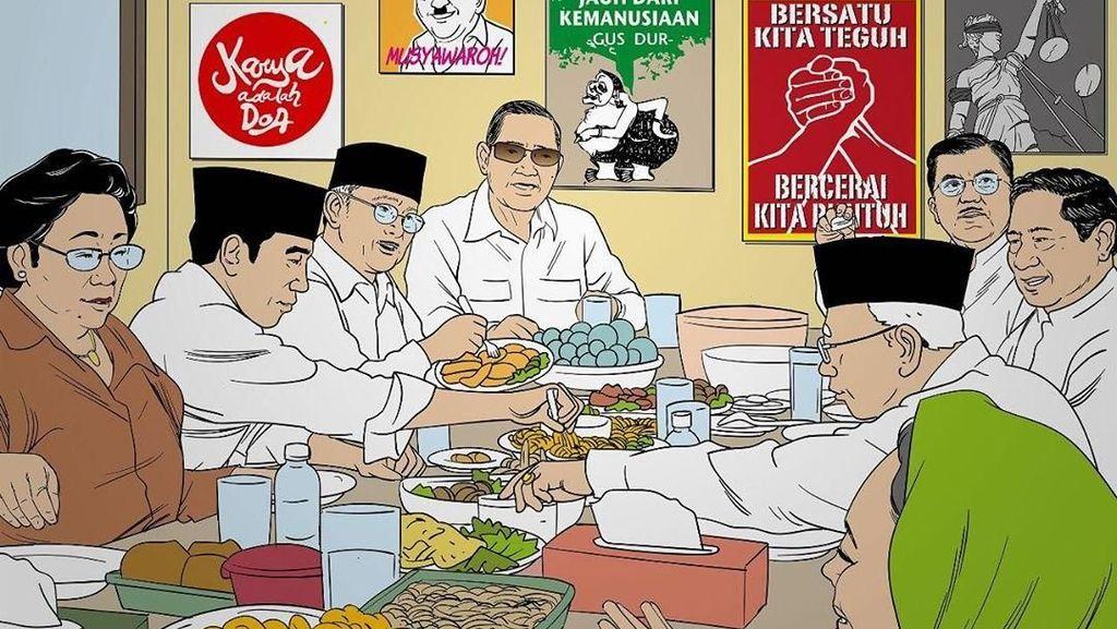 Suasana Hangat Halalbihalal Jokowi, JK, Megawati hingga SBY
