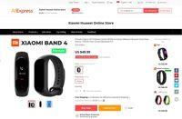 Laman yang melayani pemesanan Xiaomi  Mi Band 4.
