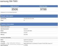 Hasil pengujian terhadarp tablet Samsung yang ditengarai merupakan Galaxy Tab S5.