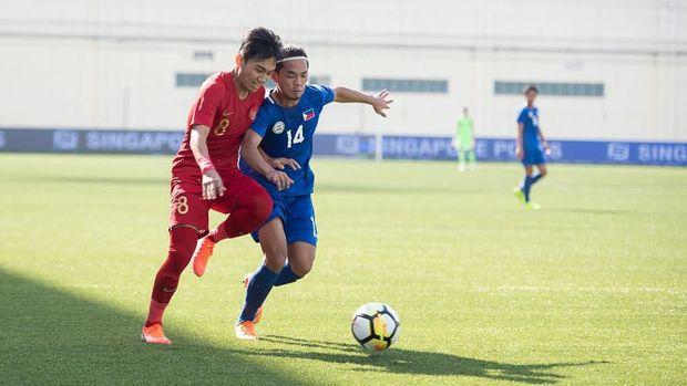 Timnas Indonesia U-23 saat menghadapi Filipina. (