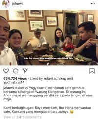 Makan Malam di Yogyakarta Jokowi dan Keluarga Pilih Nikmati Sate Gembus