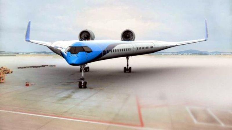 Dalam rangka HUT ke-100, maskapai Belanda, KLM merilis desain pesawat baru yang diberi nama Flying V yang berbentuk seperti huruf V (dok. KLM)