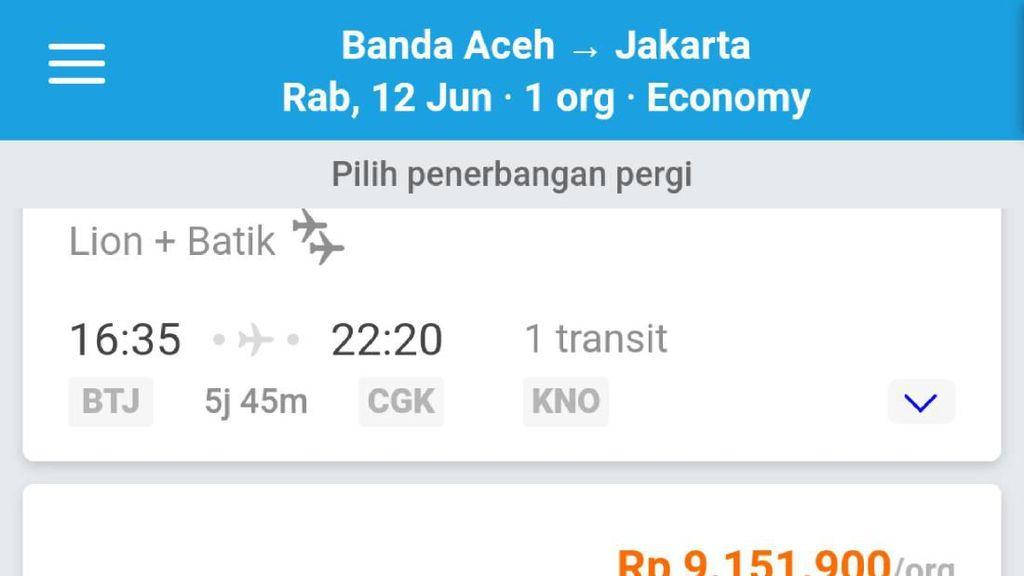 Harga Tiket Pesawat Banda Aceh-Jakarta Capai Rp 9 Juta