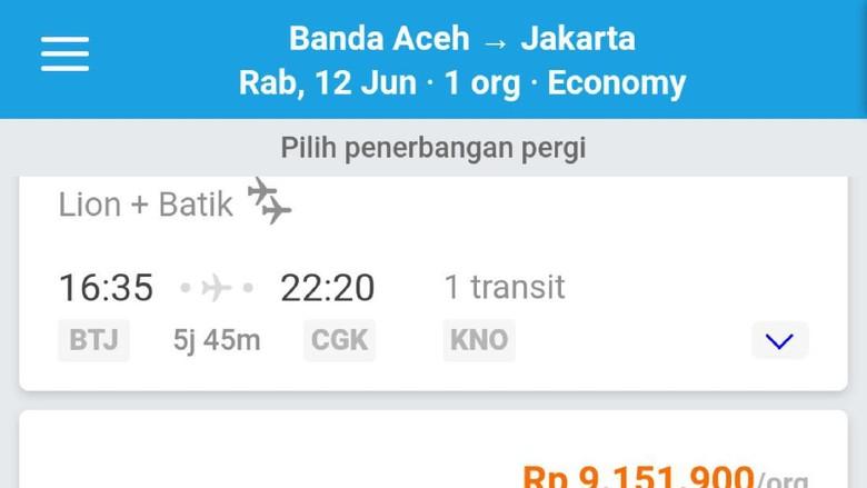 Harga Tiket Pesawat Banda Aceh Jakarta Capai Rp 9 Juta