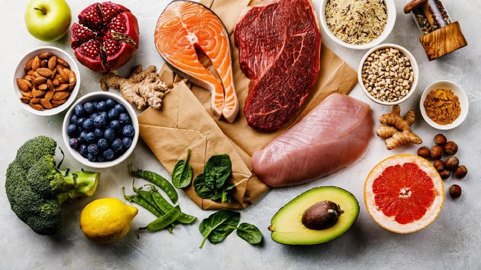 Balanced diet Organic Healthy food Clean eating selection Including Certain Protein Prevents Cancer: fish, meat, fruit, vegetable, cereal, leaf vegetable