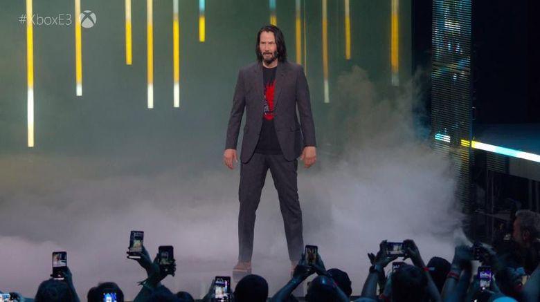 Keanu Reeves menjadi bintang tamu yang hadir di acara game Cyberpunk 2077 yang akan dirilis pada 16 April 2020. Dok. Twitter