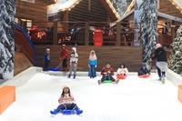 Anak-anak yang bersenang-senang sambil main perosotan salju (Randy/detikcom)