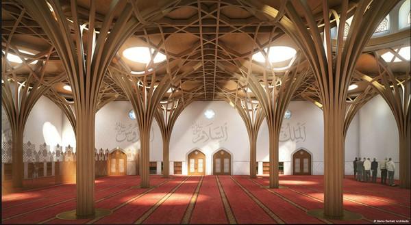 Cambridge Central Mosque memiliki tinggi 8 meter. Dalam satu kali ibadah, masjid ini mampu menampung 1.000 jemaah. (marksbarfield)
