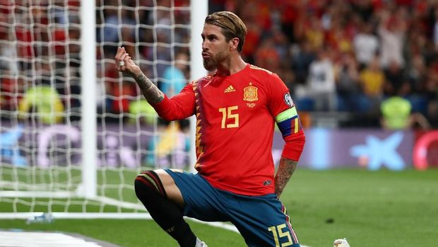 Sergio Ramos sudah mencetak 20 gol untuk timnas Spanyol.