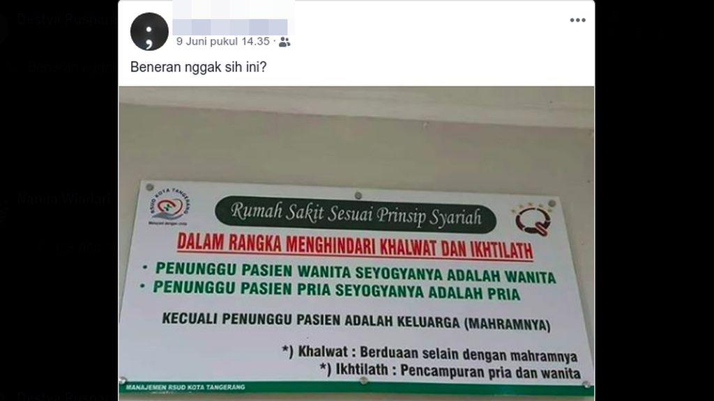 Jawaban Dinkes Kota Tangerang Soal Polemik RS Syariah