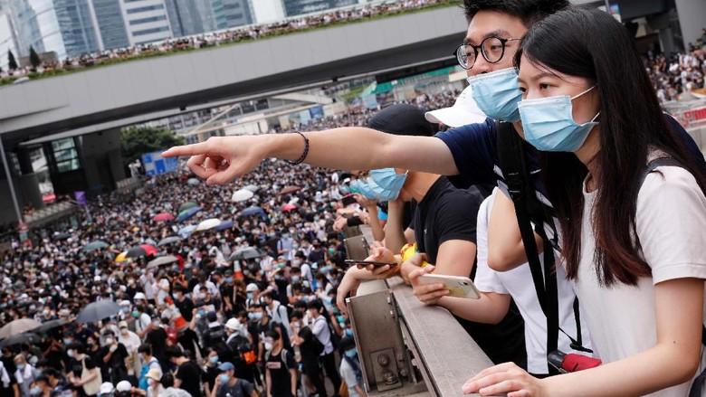 Suasana unjuk rasa RUU Ekstradisi di Hong Kong (Reuters)
