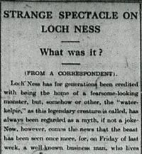 Pemberitaan monster Loch Ness (Inverness Courier)