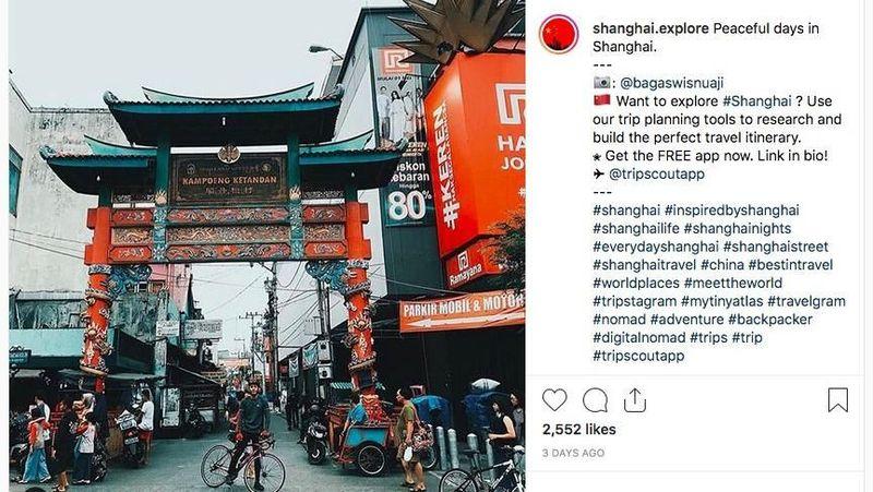 Akun wisata @shanghai.explore jadi viral di Instragram karena mengira tempat ini ada di Shanghai, China. Padahal ini adalah Kampung Ketandan di Yogyakarta (shanghai.explore/Instagram)